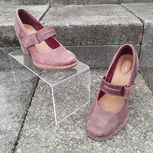 Clark's Artisan Distressed Red Leather Mary Jane's